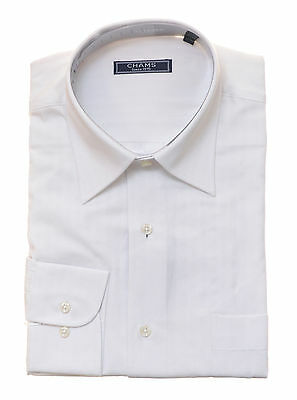 ($99 Chams Classic Fit White Tonal Striped 100% Cotton High Quality Dress Shirt)