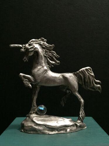 Gallo Pewter Metal Horse Unicorn Crystal Ball Medieval Miniature Art Figurine
