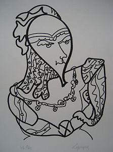 LAPICQUE Charles - Lithographie lithograph signée numérotée l'intrigant 1967 - France - Type: Lithographie Caractéristiques: Signée Thme: Personnage Authenticité: Original Période: XXme et contemporain - France