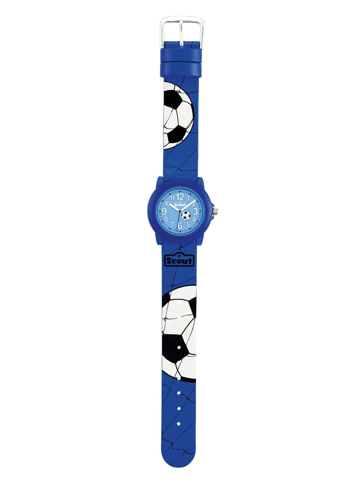 Scout Kinderarmbanduhr 280305030 Serie Crystal Fußball Jungen blau