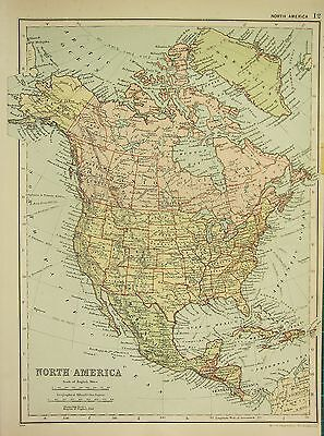 1912 LARGE ANTIQUE MAP ~ NORTH AMERICA ~ DOMINION OF CANADA UNITED STATES MEXICO