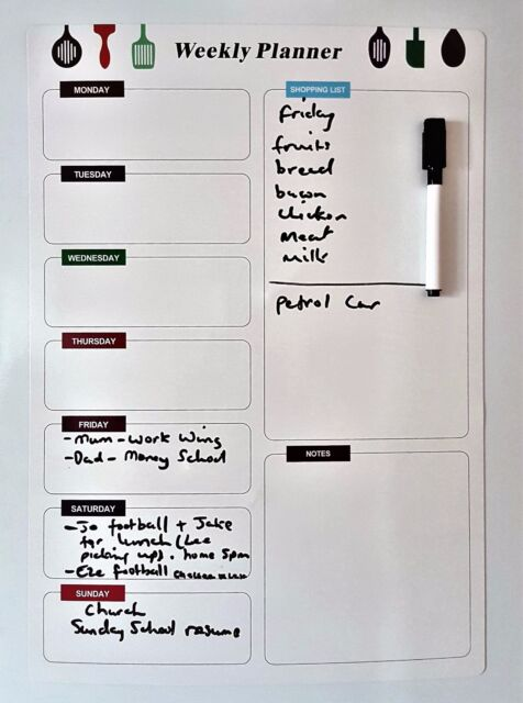 Magnetic Fridge Whiteboard Large A Weekly Planner Notice Memo Dry