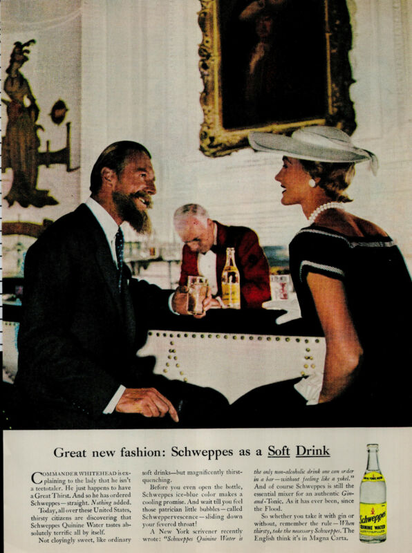 1956 Schweppes As A Soft Drink Couple At Bar Vintage Print Ad 3506