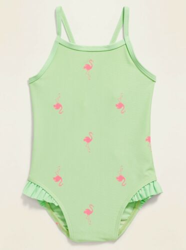 Old Navy Toddler Cross-Back Ruffle-Trim Swimsuit Soft Limon Flamingos Size 2T 3T