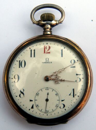 RARE AND ANTIQUE OMEGA FULL HUNTER VERMEIL CONTINENTAL SILVER POCKET WATCH