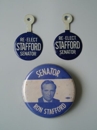 Vintage Ron Stafford Senator Election Button Pin 2 Fold Over Buttons