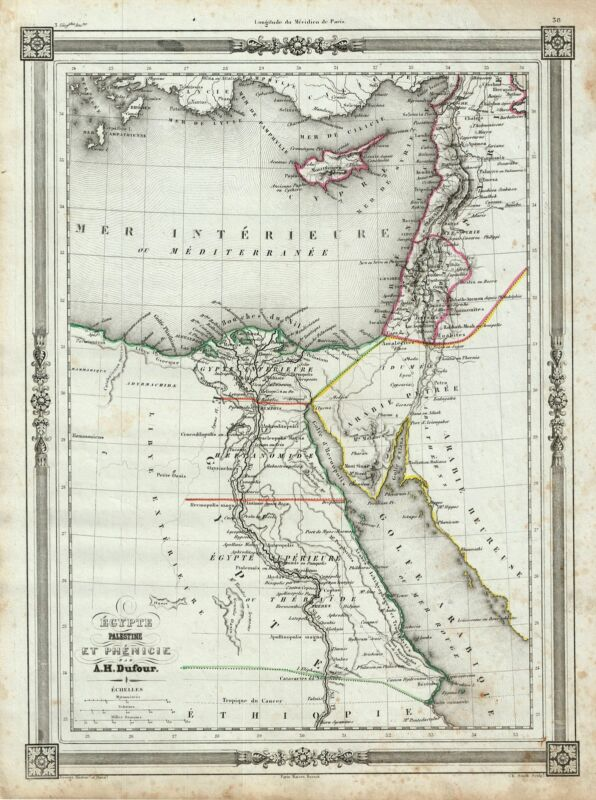 1852 Dufour Map of Egypt and Palestine