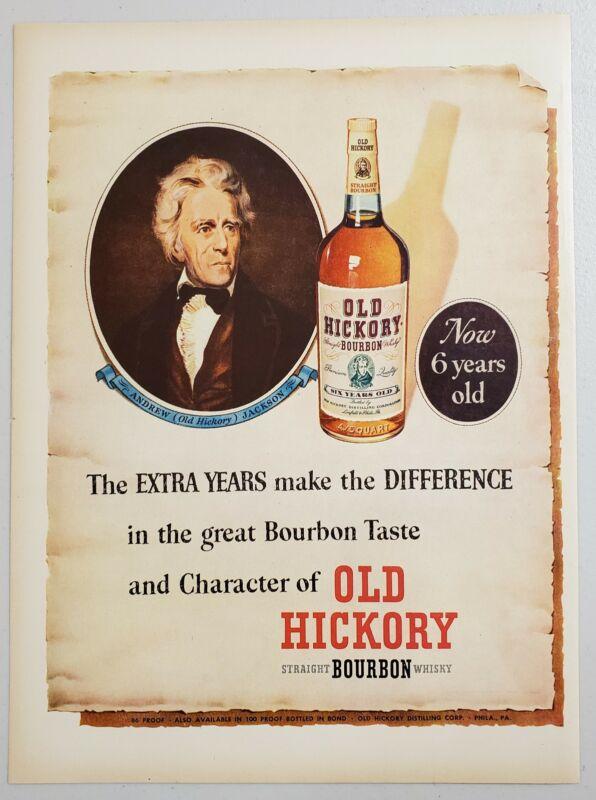 1952 Print Ad Old Hickory Bourbon Whiskey President Andrew Jackson