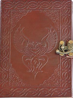 Handmade Celtic Birds Tooled Leather Blank Journal Diary Notebook Book (559) Tooled Leather Notebook