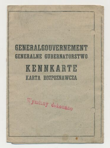 Generalgouvernment WW2 German occupied Werk Ausweis ID Document soldbuch wehrpas