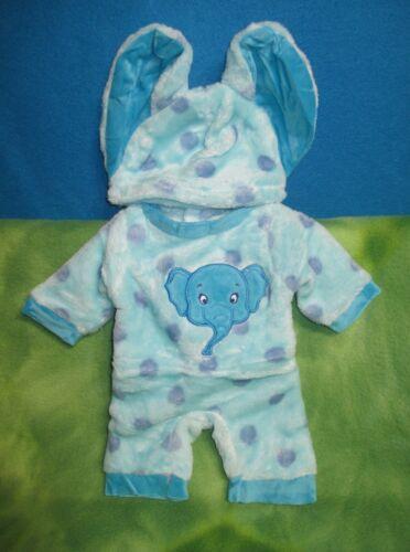 "17"" PLUSH HANDMADE BLUE ELEPHANT JUMPER HAT BABY BORN IDEAL MATTEL REBORN DOLLS"