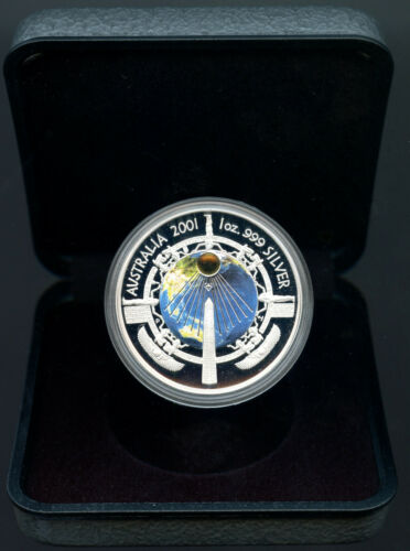 2001 P Australian $1 One Dollar Millenium Silver PROOF, Egypt obelisk, box/coa