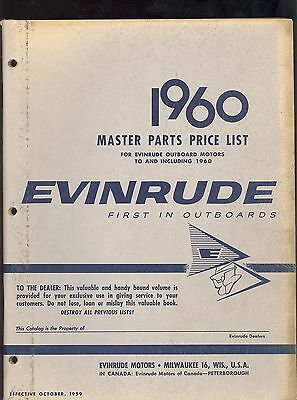 1960 EVINRUDE OUTBOARD MOTOR MASTER PARTS PRICE LIST