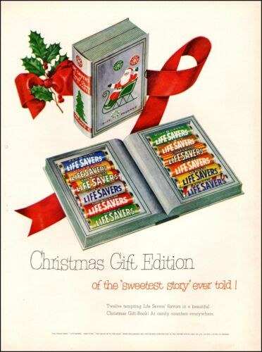 1951  vintage Christmas Ad LIFE SAVER CANDY in Fancy Gift Box 12 flavors 080620