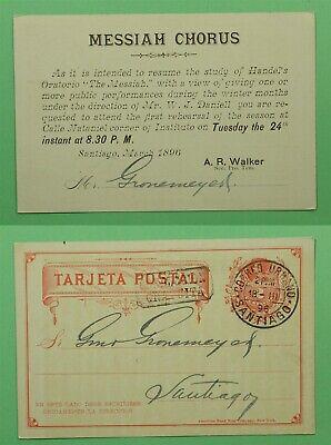 DR WHO 1896 CHILE POSTAL CARD SANTIAGO CANCEL C244503