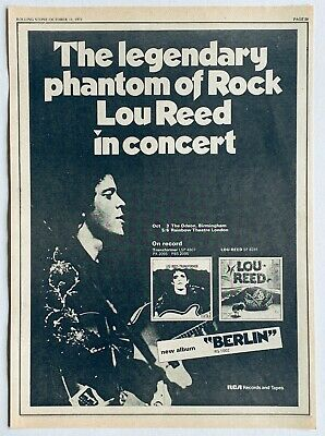 LOU REED 1973 vintage POSTER ADVERT ADVERT UK CONCERT Berlin Velvet Underground