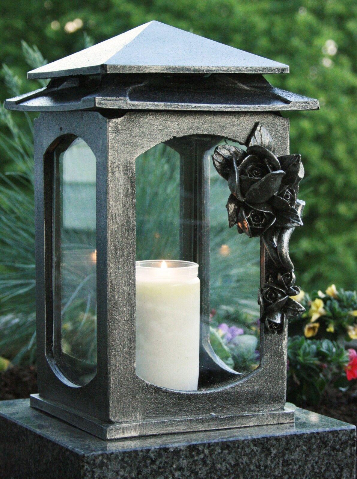 Grablaterne Grablampe Grableuchte Silber Grabschmuck Rose inkl. Grablicht Kerze