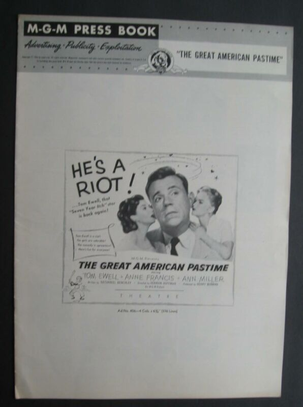 M.G.M.  Press Book Publicity Release For Great American Pastime 1956 Tom Ewell
