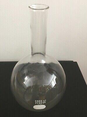 Vintage Pyrex 2000 Ml Flat Bottom Glass Lab Flask Chemistry Apothecary