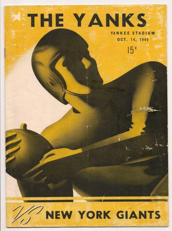 1945 New York Yanks-Giants Program RARE Yanks Program Clubs Deadlock GEM!!