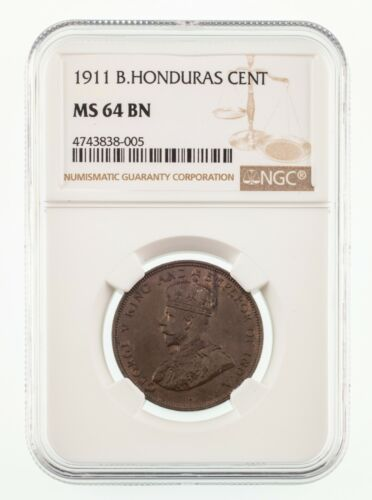 1911 British Honduras Cent Graded by NGC as MS64 Brown
