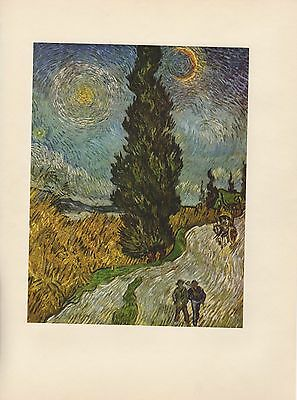 "1952 full Color Art Plate "" Road With Cypresses "" by Van Gogh Lithograph Litho"