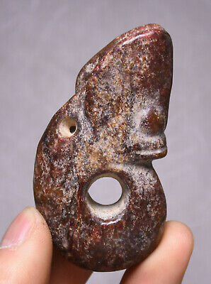 7CM Old China Hongshan Culture Hetian Jade Yu Pig Dragon Hook Gou Amulet Pendant