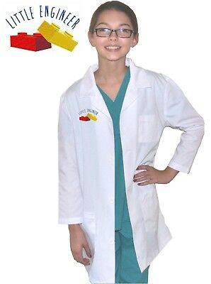 Kids Engineer Lab Coat with Little Engineer Blocks Embroidery Design Child Little Engineer Costume