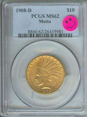 Click now to see the BUY IT NOW Price! 1908 D WITH MOTTO $10 INDIAN EAGLE PCGS MS62 STUNNING PREMIUM QUALITY  P.Q.