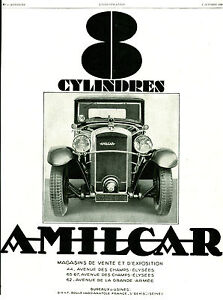 publicit ancienne voiture amilcar 8 cylindres 1929 ebay. Black Bedroom Furniture Sets. Home Design Ideas