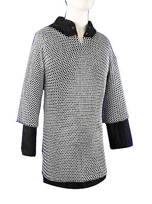 Aluminium Chainmail Shirt Butted Chainmail Haubergeon Medieval Costumes - Revolutionary War Costumes For Men