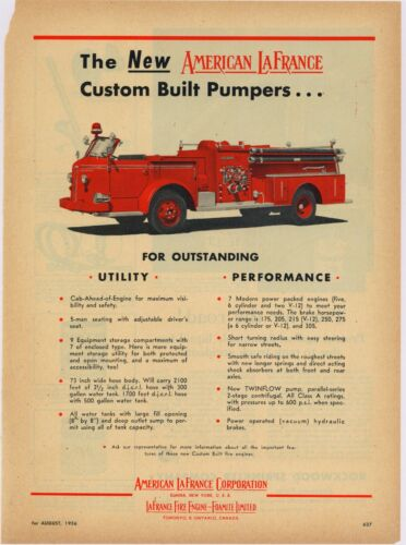 1956 American LaFrance Co. ALFCO Ad: Custom Built Fire Pumpers w/ Specs Listed