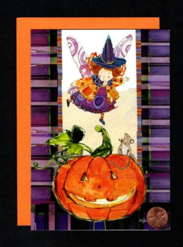 HALLOWEEN Witch Hat Mouse Wings Pumpkin - GLITTERED -  Greeting Card W/ TRACKING