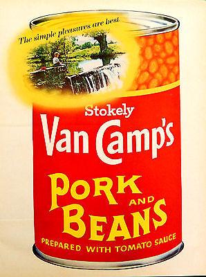 Vtg 1968 Stokley Van Camp's fishing boy Pork Beans advertisement print ad art