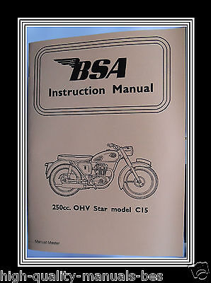 250 c.c. BSA C Model C15  O.H.V. OWNERS INSTRUCTION MANUAL BOOKLET