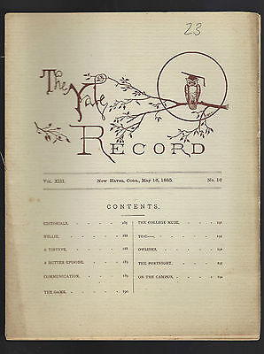 Yale Record May 16 1885 New Haven  Ct  Campus News  Sports  Baseball  Dry Humor