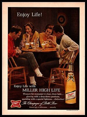 1964 Miller High Life Beer Bottle Man Playing Ukulele Friends At Table Print Ad