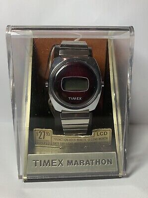 1978 TIMEX MARATHON MEN'S DIGITAL WRIST WATCH NOS WITH BOX WARRANTY TAGS MANUAL