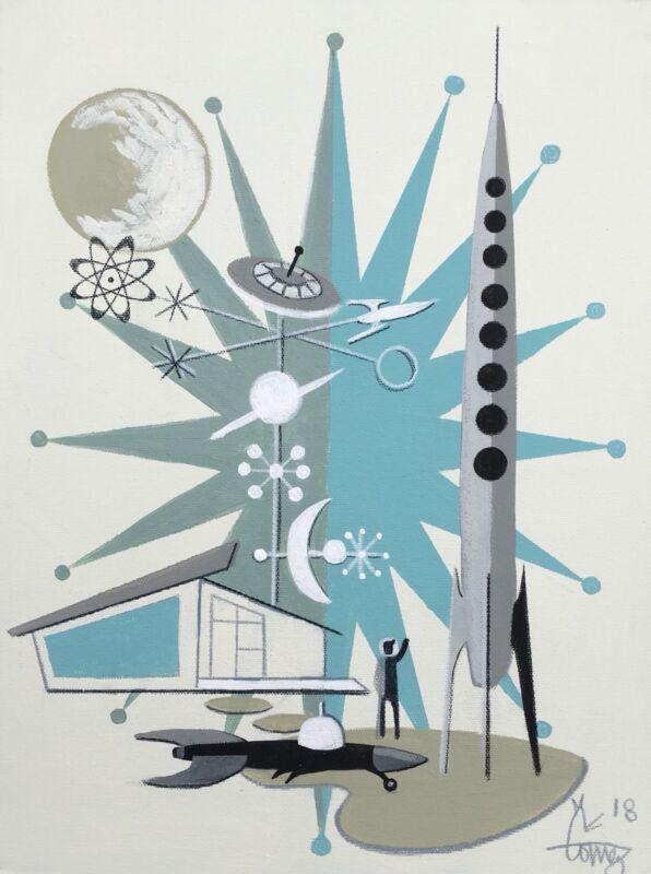 El Gato Gomez Retro Googie Rocket Sci-fi 1950's Mid Century Mod Abstract Atomic
