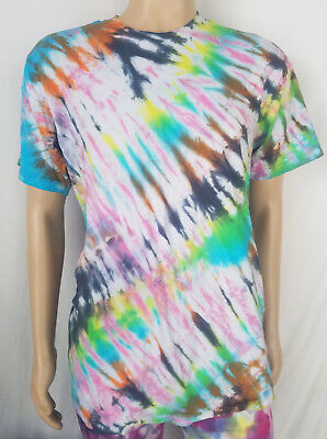 Black Rainbow Striped Tie Dye T-Shirt - Large Hand Made Psychedelic Tee New