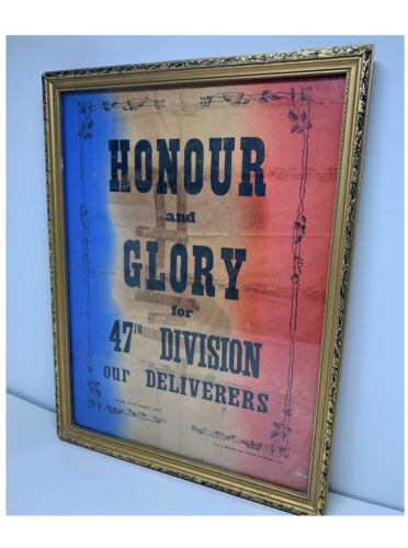 Original Poster 1918 WWI 1918 47th London Division Liberation of Lille France