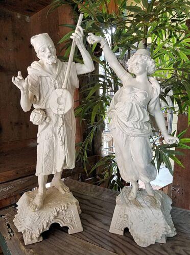 Pair of Antique Spelter Wandering Minstrels Troubadours Cast Statues