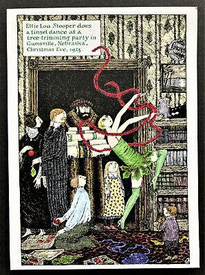 NEW Edward Gorey ONE 7x5 Tinsel Dance Christmas Holiday Blank Note Card Weird