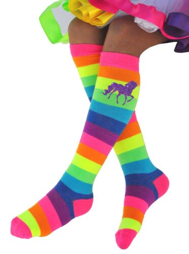 Bubblegum Divas Girls Rainbow Knee High Socks Unicorns Toddler Kids Shoe SZ 4-11