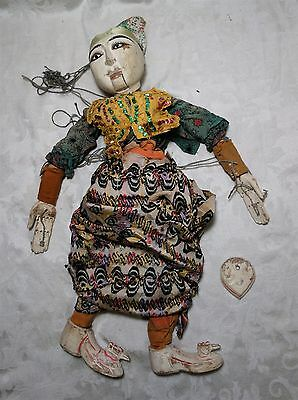 """Antique Asian Burmese Marionette Puppet Handmade Carved Wood Hand Painted 24"""""""