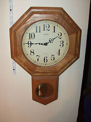 Large Reg. Style Sunbeam Pendulum Quartzs Clock All Wood
