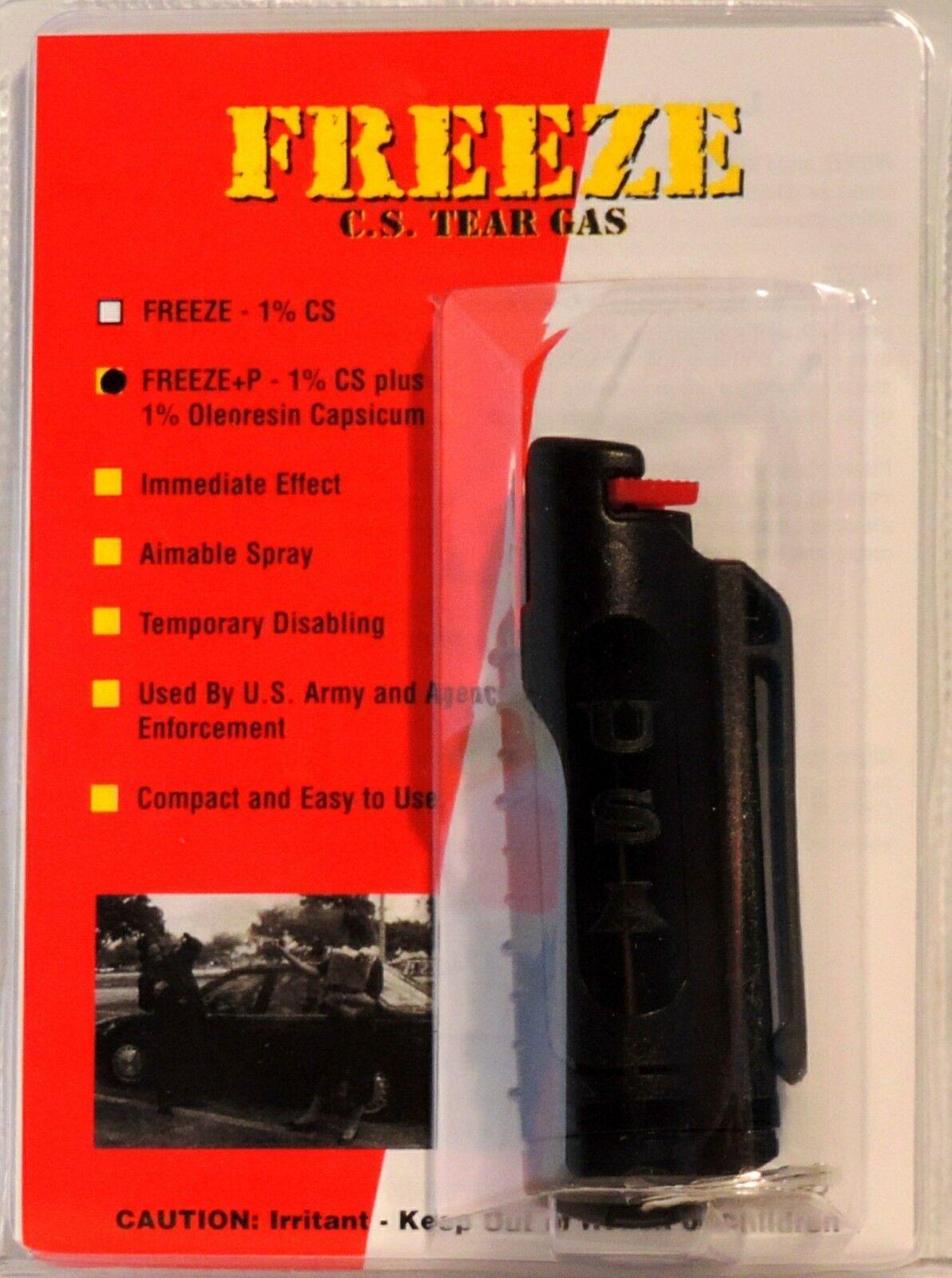 Freeze +P Pepper Spray - 1/2 oz Stream - Black Hardshell Keychain