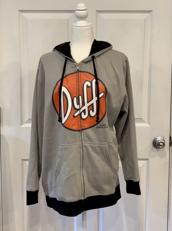 The Simpsons Size XL Duff Hoodie Sweatshirt  Zip-Up New w/out Tag Gray Grey