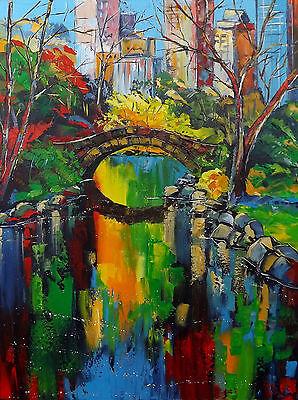 Grand Format 70x50cm New York JP DOUCHEZ Peinture huile sur toile au couteau