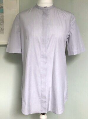ISA ARFEN Womens Blue Stripe Shirt Blouse Sz 10 Short Slvs Collarless Sample New